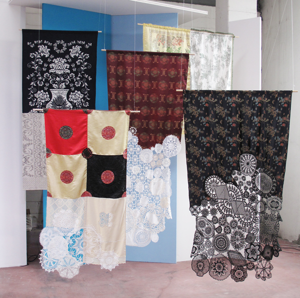ctrlzak - Flagmented, a series of works which integrate traditional fabrics from two diverse cultures, the European and the Chinese, blending them to form a single textile, by CTRLZAK
