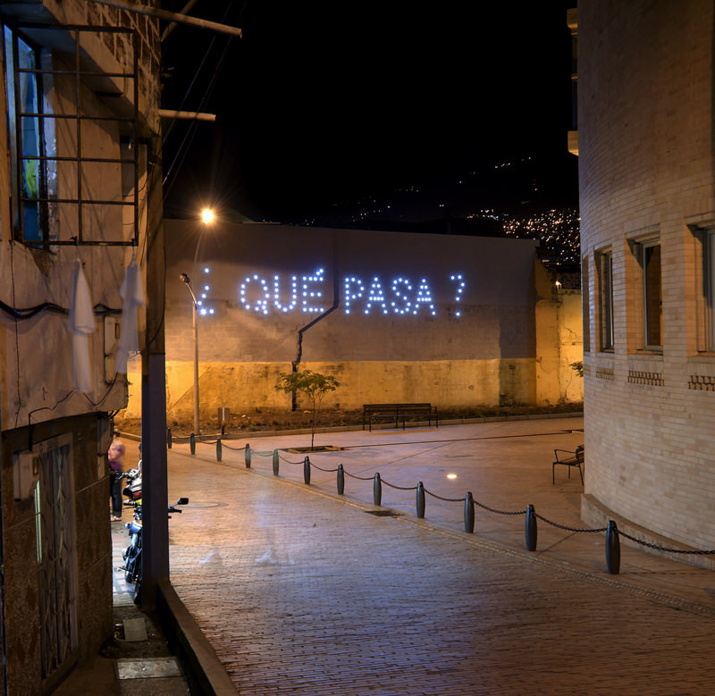 ctrlzak - ¿Qué Pasa?, permanent light art installation for the city of Medellin, by CTRLZAK